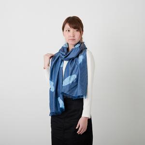 KIZOMÉ DIGITAL3D Shiboriスカーフ<わっふる>ひつじぐも ブルー