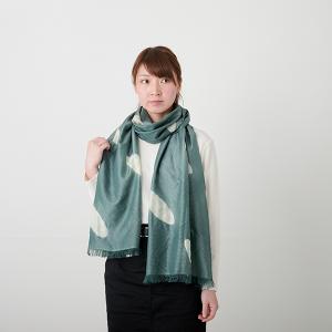 KIZOMÉ DIGITAL3D Shiboriスカーフ<わっふる>ひつじぐも グリーン