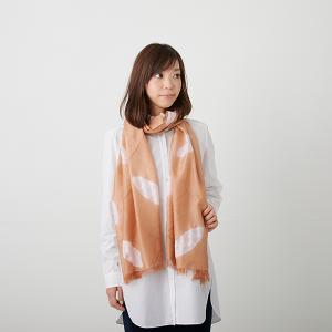 KIZOMÉ DIGITAL3D Shiboriスカーフ<わっふる>ひつじぐも オレンジ