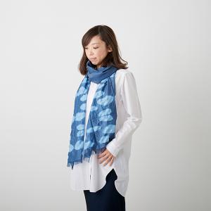 KIZOMÉ DIGITAL3D Shiboriスカーフ<わっふる>うろこぐも ブルー