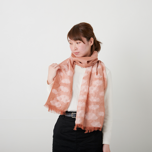 KIZOMÉ DIGITAL3D Shiboriスカーフ<わっふる>うろこぐも オレンジ